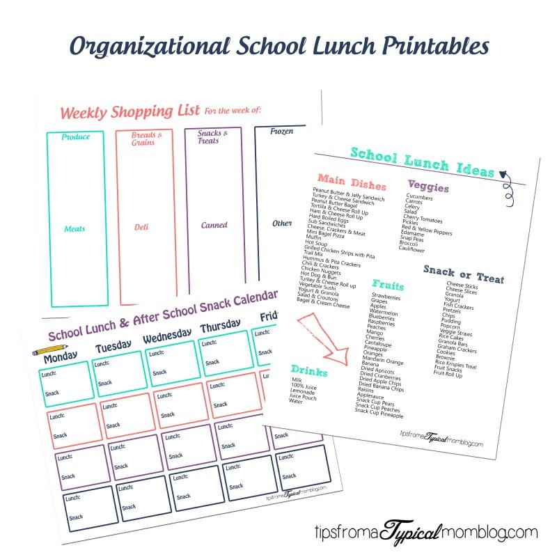 Organizational School Lunch Printables