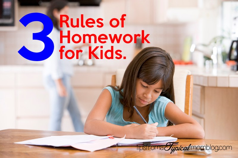 3 Homework rules for kids