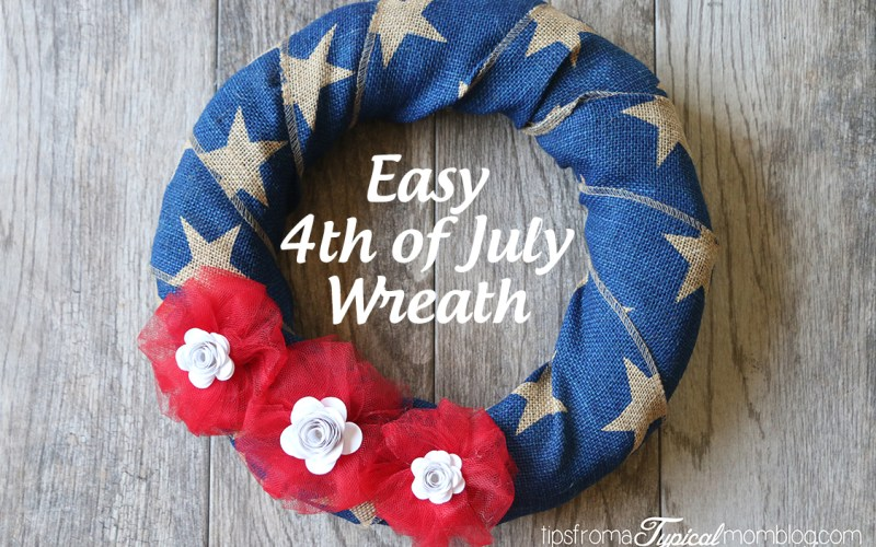 Easy Burlap Ribbon 4th of July Wreath with White Paper Flowers