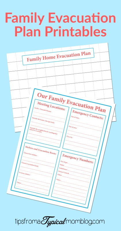 Family Emergency Evacuation Plan Blue
