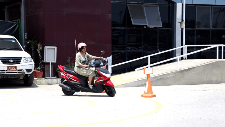 Good Girl Riding Scooter