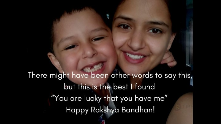 Raksha Bandhan Quotes with lovely Brother and sister smiling in a lovely way