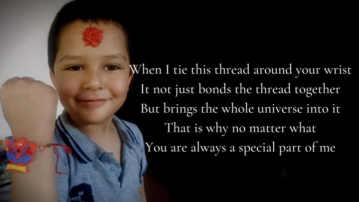 Raksha Bandhan Quotes with lovely Brother and sister smiling in a lovely way with rakhi