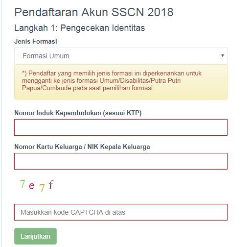 Prosedur Pengisian dan Solusi Permasalahan Kartu Pendaftaran CPNS Kemenkumham 2017 2018 2019.