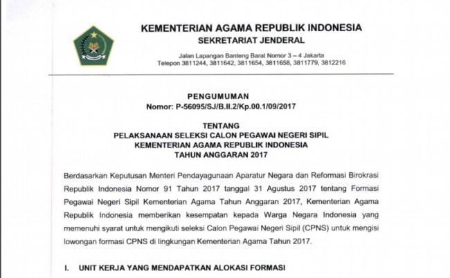 Pengumuman Hasil Seleksi Administrasi CPNS Kementerian Agama 2017