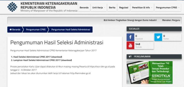 Pengumuman Hasil Seleksi Administrasi CPNS KEMNAKER 2018 Peserta Lulus SSCN