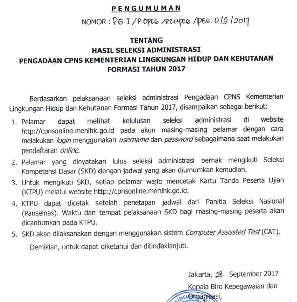 Pengumuman Hasil Seleksi Administrasi CPNS Kementerian Lingkungan Hidup dan Kehutanan
