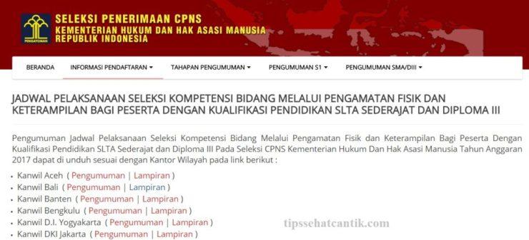 Pengumuman Jadwal SKB PFK Pengamatan Fisik dan Ketrampilan CPNS Kemenkumham