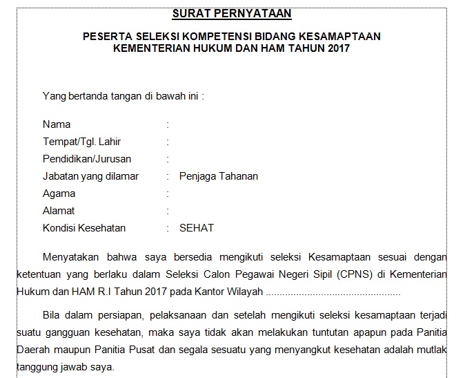Download Contoh Surat Pernyataan Seleksi Kesamaptaan Cpns