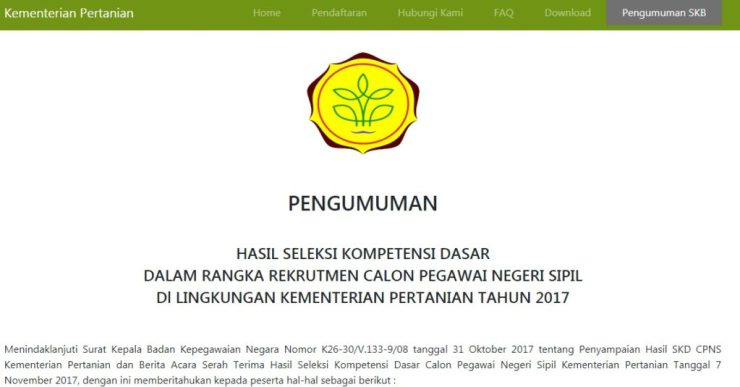Pengumuman Hasil Tes CAT SKD CPNS KEMENTAN 2018 Seleksi Kompentensi Dasar.
