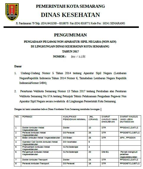 Penerimaan Pegawai Non Aparatur Sipil Negara DINKES Kota Semarang 2017