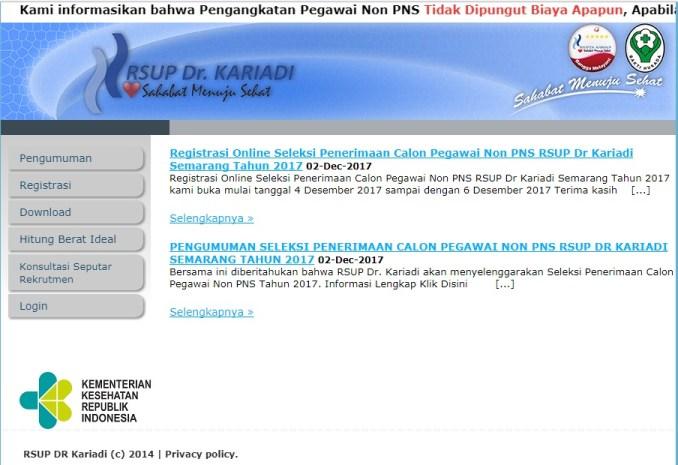 Pengumuman Penerimaan Pegawai Non PNS RSUP DR KARIADI Semarang 2017, Lowongan Pegawai Non PNS RSUP Kariadi Semarang