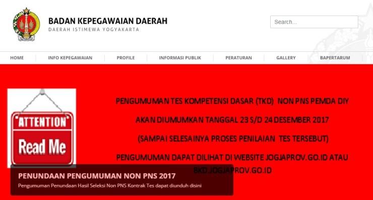 Hasil TKD Non CPNS Pemda Yogyakarta Tes Kompetensi Dasar 2017