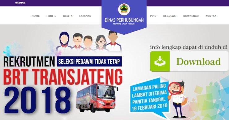 Lowongan Kerja Seleksi Pegawai Non PNS BRT Trans JATENG 2018, Penerimaan Pegawai Non PNS Dinas Perhubungan Provinsi Jawa Tengah Tahun anggaran 2018
