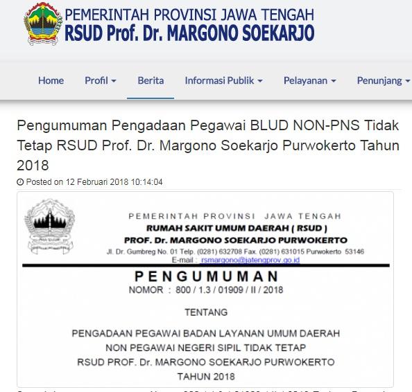 Penerimaan Pegawai Lowongan Kerja Loker Non PNS RSUD Prof DR Margono Soekarjo Purwokerto tahun 2018