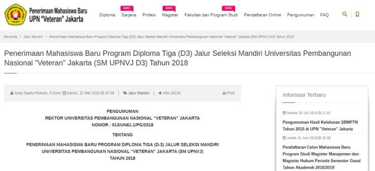 Pengumuman Hasil Ujian Tertulis Seleksi Mandiri Program D3 UPNVJ Jakarta Tahun 2018/2019
