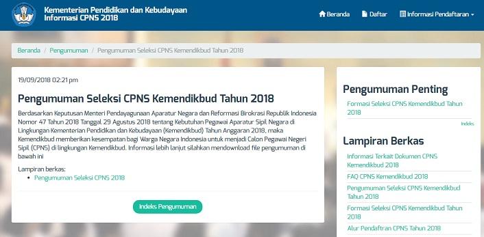 Pengumuman Hasil Seleksi Administrasi CPNS KEMENDIKBUD 2018 Peserta Lulus SSCN
