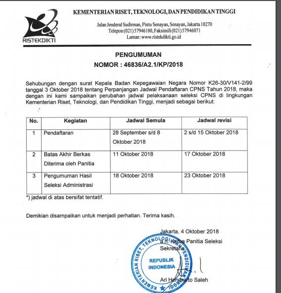Jadwal dan Lokasi Tes SKD CPNS KEMENRISTEKDIKTI 2018 Peserta Lulus Seleksi Administrasi SSCN.