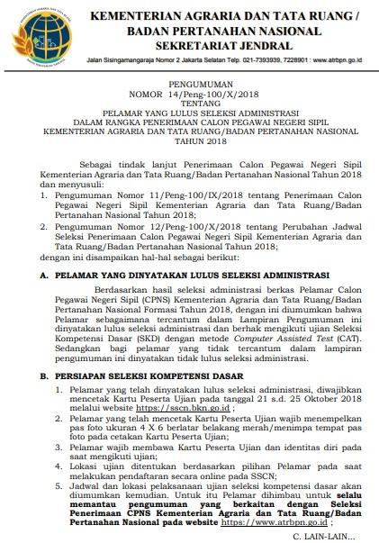 Pengumuman Hasil Seleksi Administrasi CPNS ATRBPN 2018 Validasi Berkas Asli.