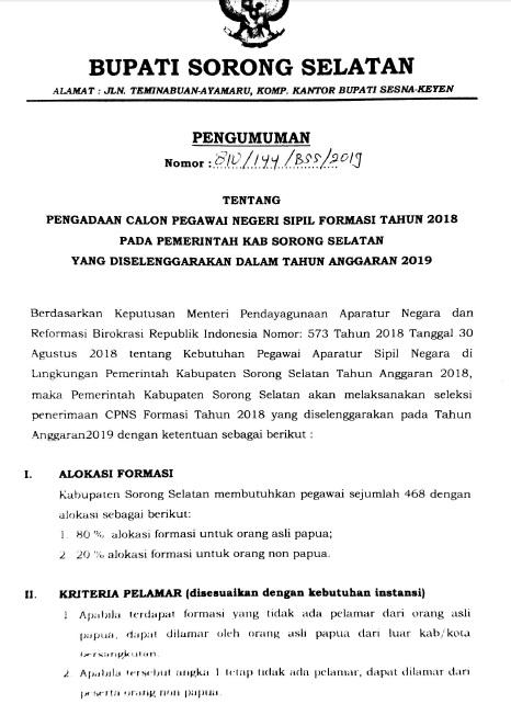 Panduan Cara Pendaftaran Lowongan CPNS Kab Sorong Selatan 2019 lulusan SMA SMK D3 S1.