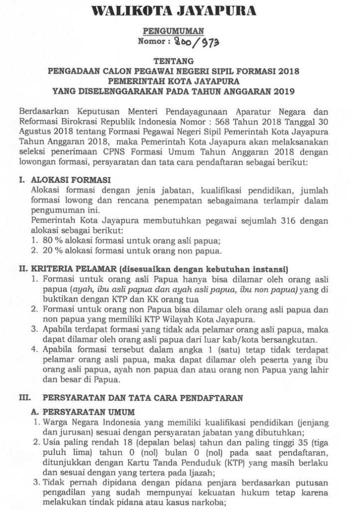 Petunjuk Cara Pendaftaran CPNS Kota Jayapura Papua 2019 Lulusan SMA SMK D3 S1