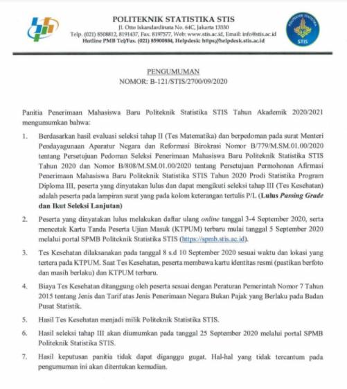 Pengumuman Hasil Ujian Tahap II SPMB STIS 2020 2021