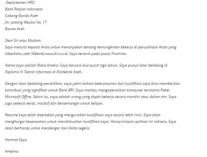 Download Contoh Surat Lamaran Kerja Word Pdf Cv