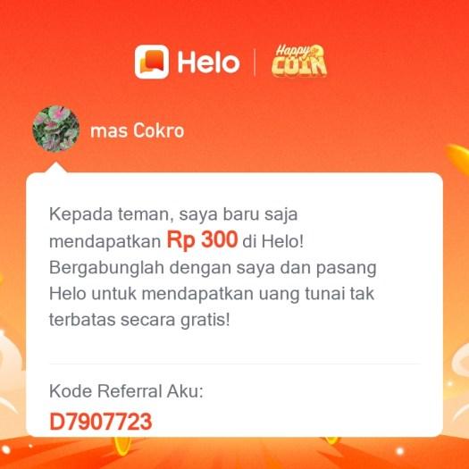Cara dapat Uang dari Aplikasi Helo Hanya Dengan Mengundang Teman