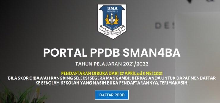 Seleksi Pendaftaran PPDB SMA NEGERI 4 Banda Aceh 2021 2022