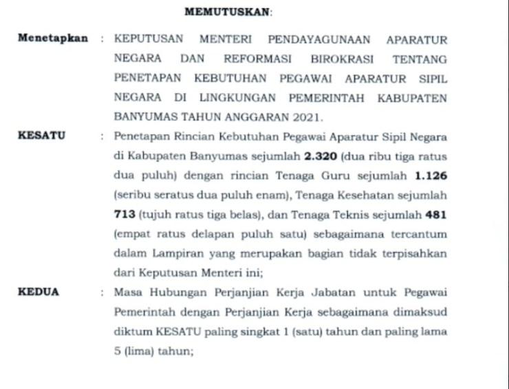 Formasi CPNS 2021 Jawa Tengah PDF Jumlah lowongan Pendaftaran Calon Pegawai Negeri Sipil Lulusan SMA D3 S1
