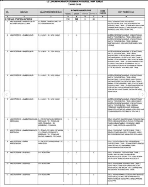 Formasi CPNS 2021 Jawa Timur PDF