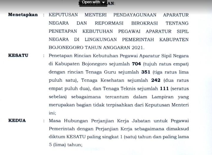 Formasi CPNS 2021 Jawa Timur PDF Jumlah lowongan Pendaftaran Calon Pegawai Negeri Sipil Lulusan SMA D3 S1