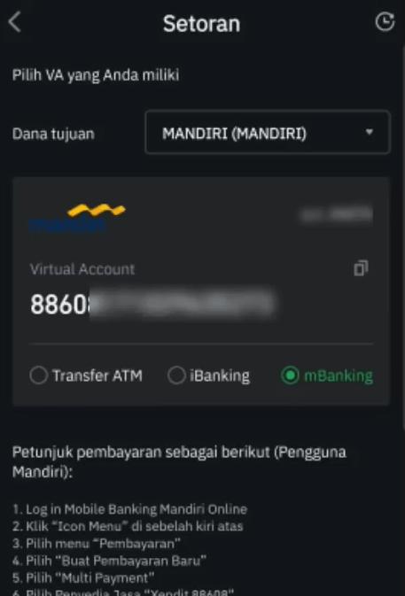 VA Bank Mandiri di tokocrypto