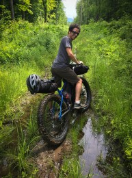 Jonathan in the slop on his Surly Pugsley early into the first ascent up the Center Turnpike.