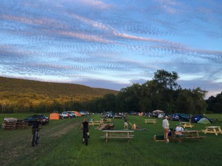 A few of the early arrivals to the camping field at D2R2. By nights end this field would be full and a huge bon fire would be raging!