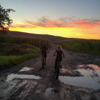 Jonathan and his wife rolling fatties into the sunset near historic Deerfield MA on the night before D2R2.