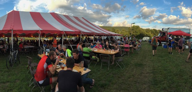 Post ride food and beers with hundreds of other riders at D2R2.