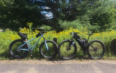 Obligatory shot of our trusty steeds somewhere around mile 60 on our bail-out connection route along VT 112. Despite being slower going, the Wiseman and my Krampus Ops were more than up to the task!