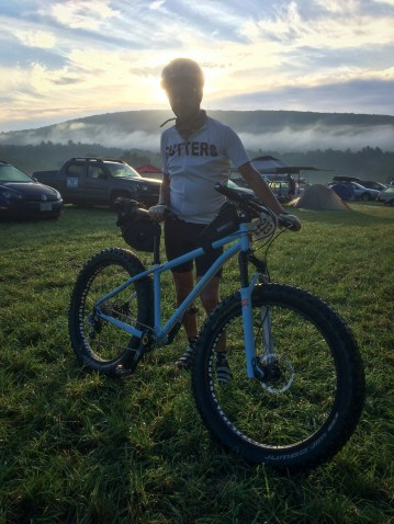 Jon and his custom Wiseman Frameworks NAHBS fatbike ready for our early morning roll out on the 160k route of D2R2.