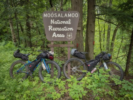 Our trusty steeds at the entrance, or in this case our exit, to the Moosalamoo National Recreation Area.