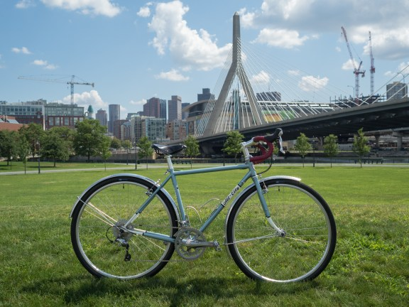 Tori with the Zakim bridge and downtown Boston.