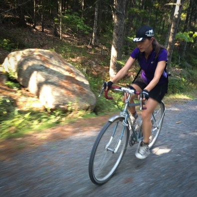 Nancy gettin' it on a climb!