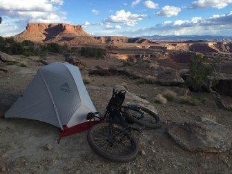 Camp and the view to the southern bits of Canyonlands.