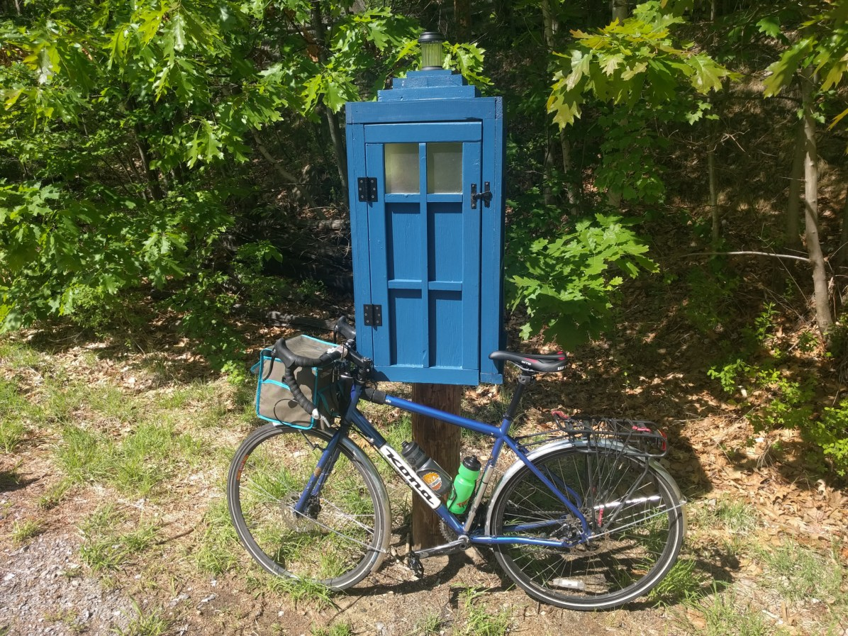 There were a few TARDIS Little free libraries along the trail. Rumor has it that they were full-sized public libraries on the inside on account of Time Lord technology. (Photo: Adam)