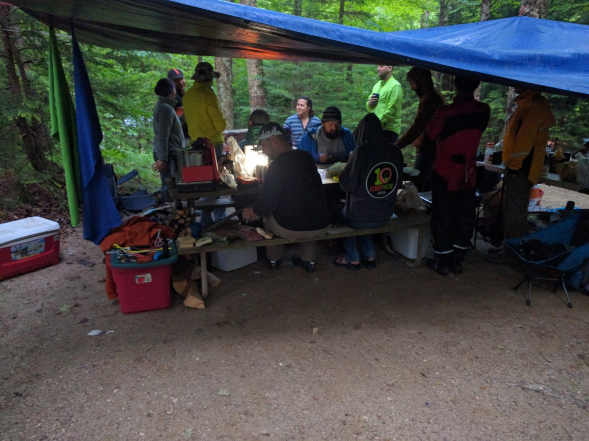 Damp camp dinner (Photo: Seth)