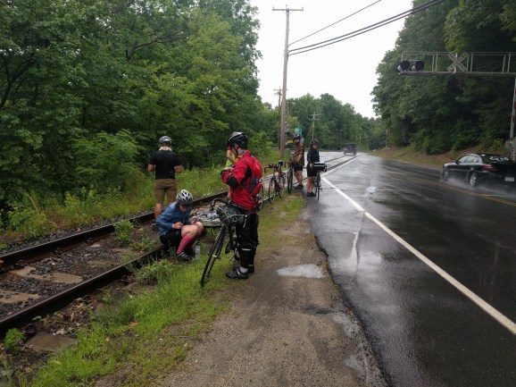 3/6 of us crashed on these wet and slippery tracks