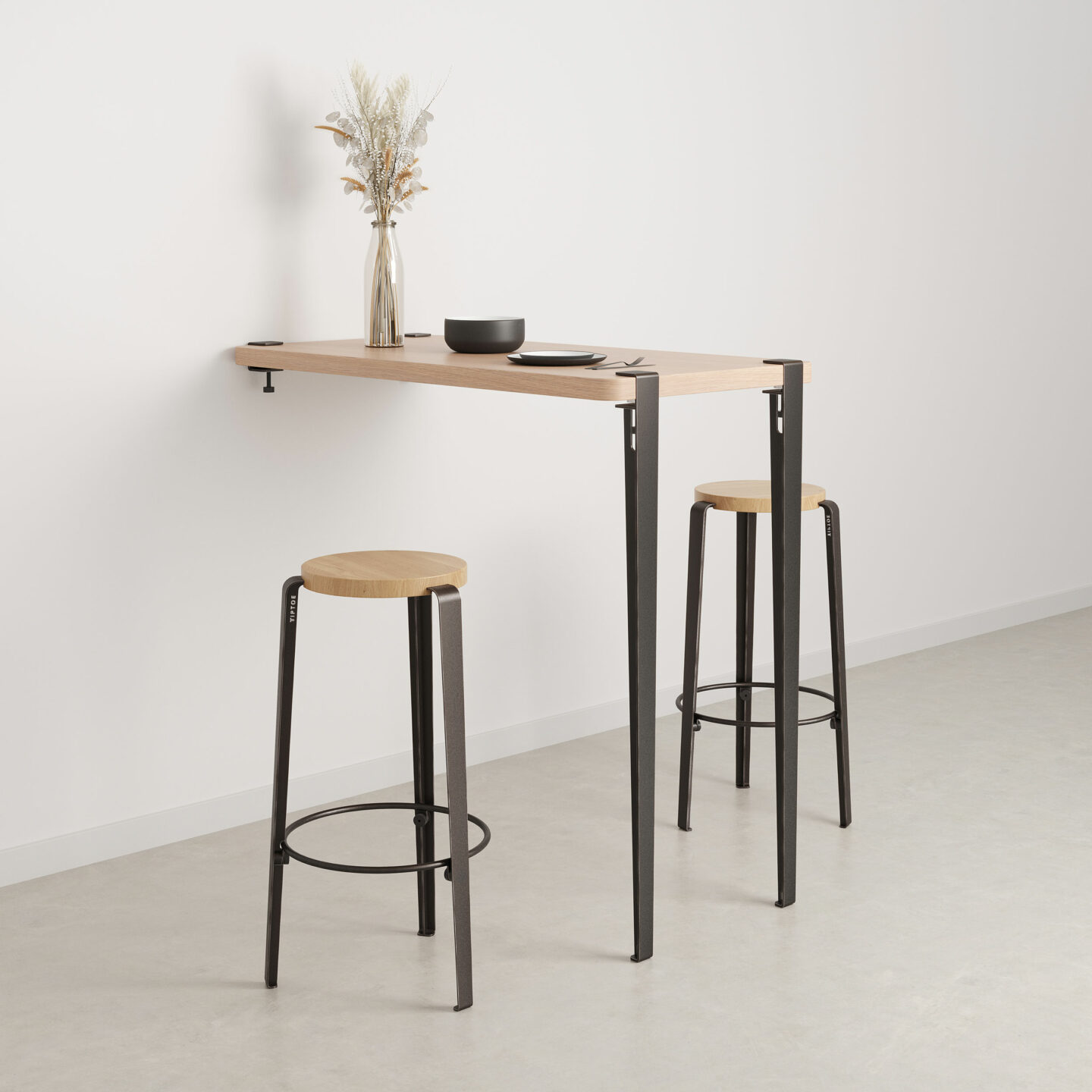 wall mounted bar table height 110cm eco certified wood