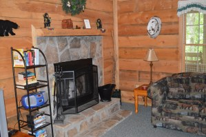 rustic wood burning fireplace