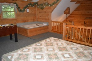 bedside jacuzzi and game table, townsend tennessee