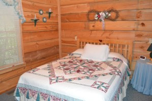 rustic bedroom in this townsend cabin